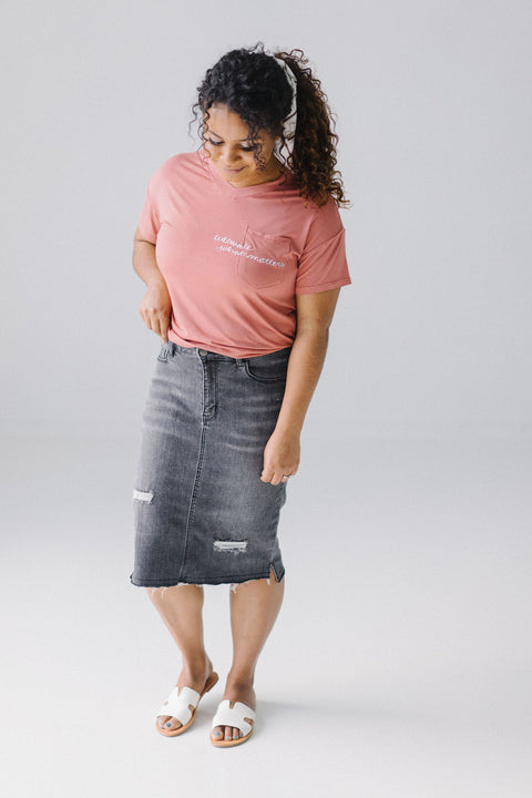 'Eden' Charcoal Denim Knee Length Skirt