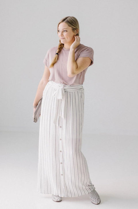 'Ariana' Ivory/Black Striped Maxi Skirt