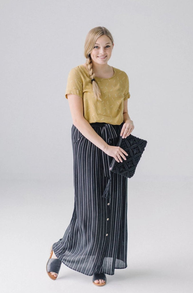 'Ariana' Black/White Striped Maxi Skirt