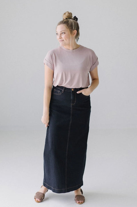 'Jia' Dark Denim Ankle Length Skirt