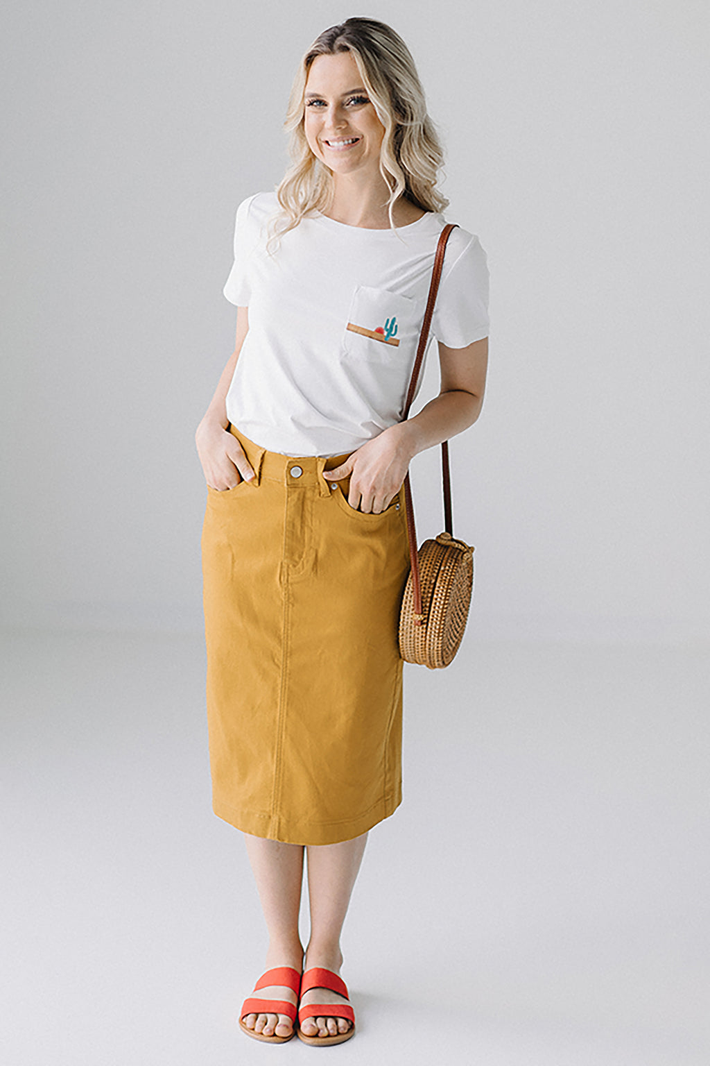 'Leah' Denim Skirt in Tuscan Sun