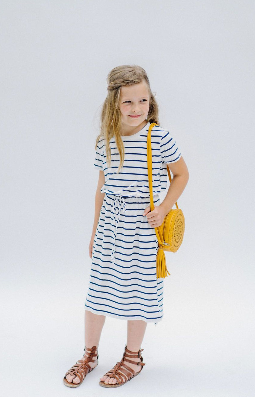 'Amber' Girl Navy/White Striped Dress
