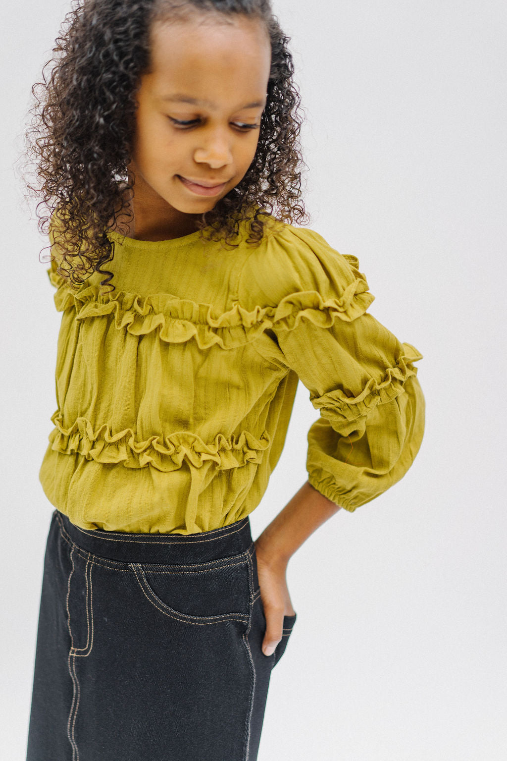 Girl Ruffle Top in Avocado