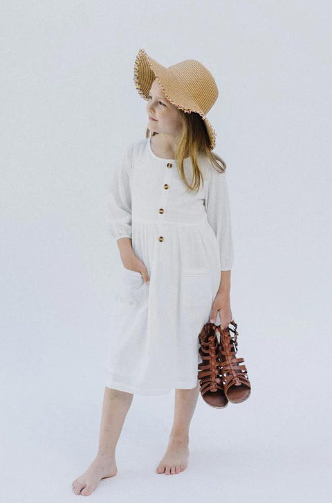 'Madeline' Girl Button Down Dress in Cream