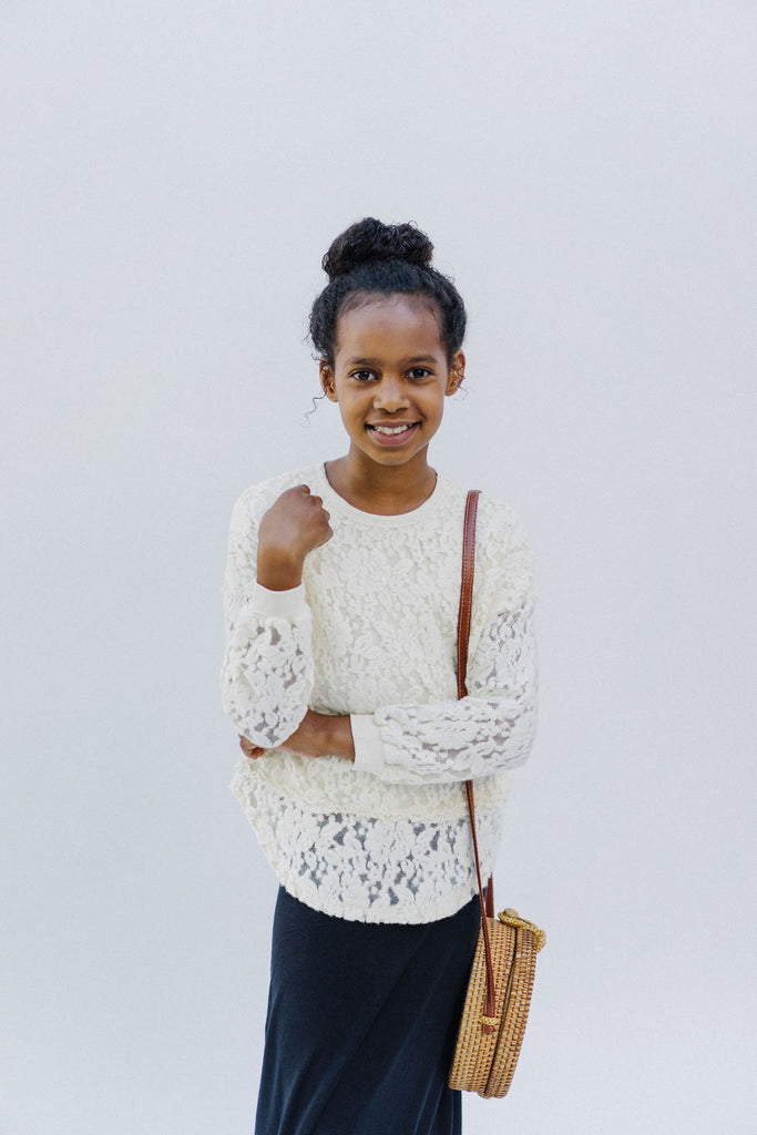Girl Lace Pullover Sweater in Vanilla