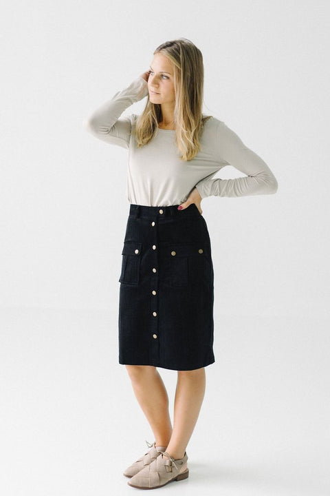 'Amelia' Corduroy Skirt in Black