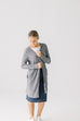 Long Ribbed Cardigan in Pewter