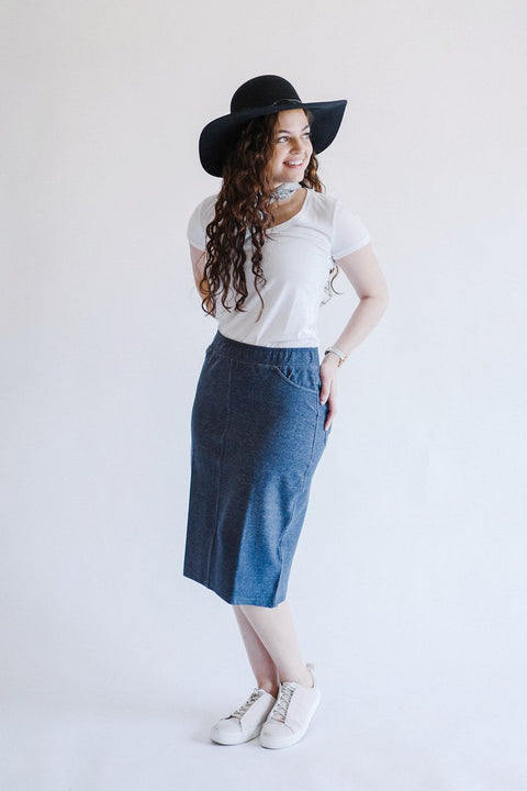 'Piper' Knit Denim Skirt in Vintage Blue