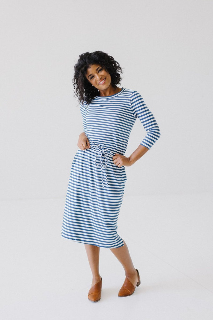 'Lucy' Dress in Blue and White Stripes