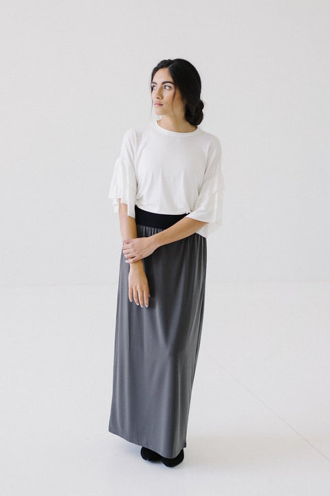 'Claire' Skirt in Ash Gray