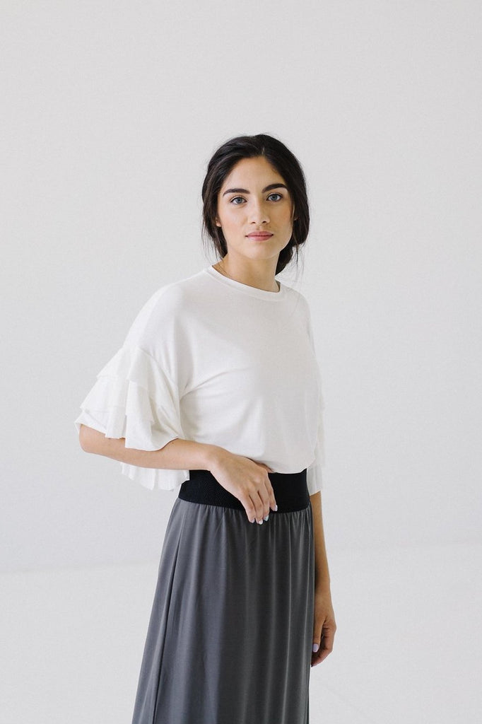Ruffled Sleeve Top in Cream