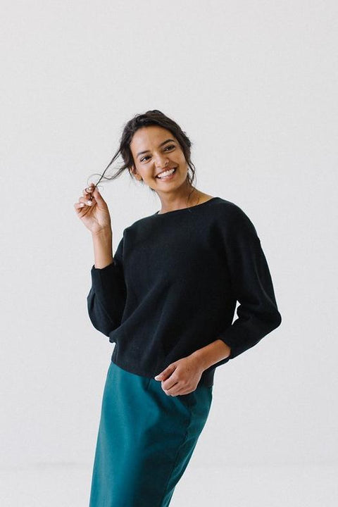 Pinch Detail Sweater in Black