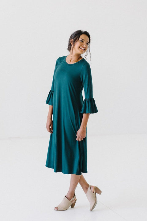 'Aubree' Dress in Fur Green