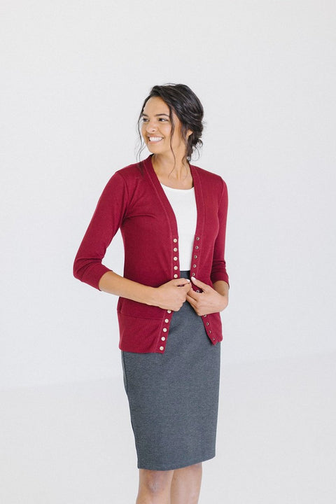Snap Down Cardigan in Burgundy