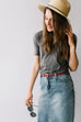 'Kyra' Knee Length Denim Skirt
