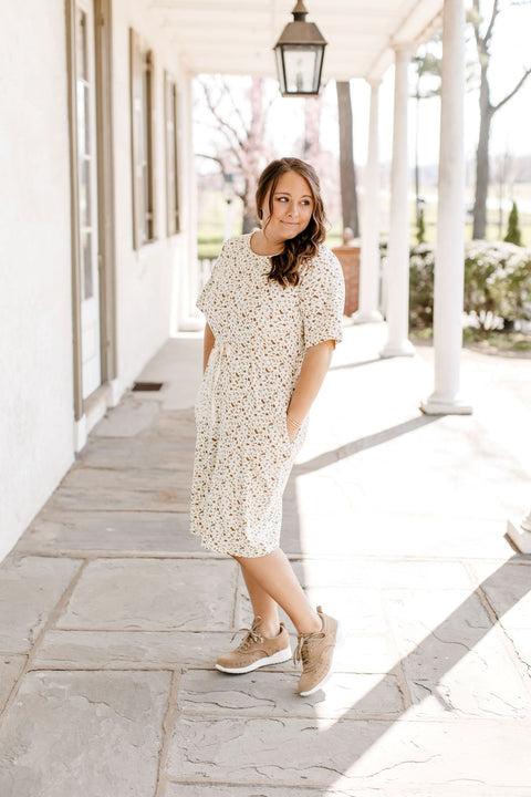 'LeAnn' Soft Cotton Dress in Floral Cream