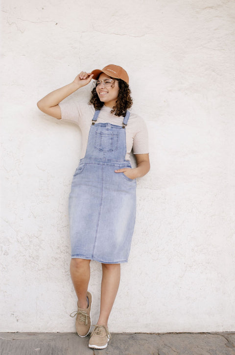 'Emerson' Light Denim Skirt Overalls