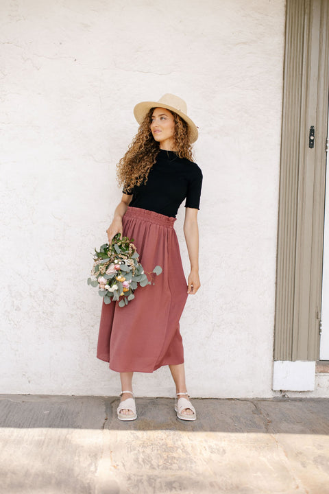 'Serena' Midi Skirt in Marsala