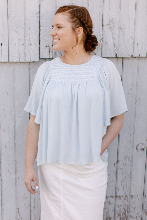 'Ina' Smocked Flutter Sleeve Top in Powder Blue