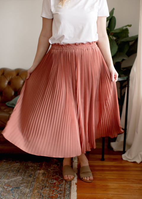 'Melody' Midi Skirt in Rose