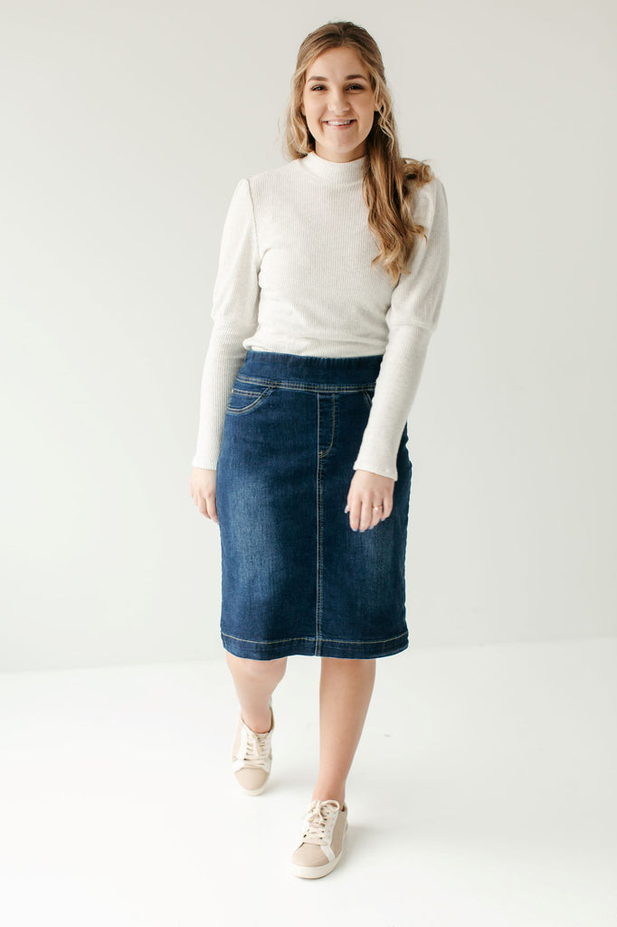 'Sara' Classic Knee Length Dark Denim Skirt