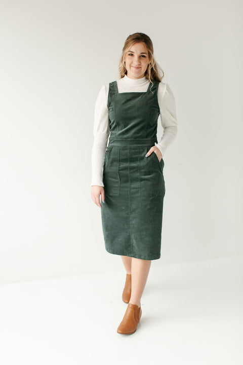 'Nora' Overall Dress in Dark Green