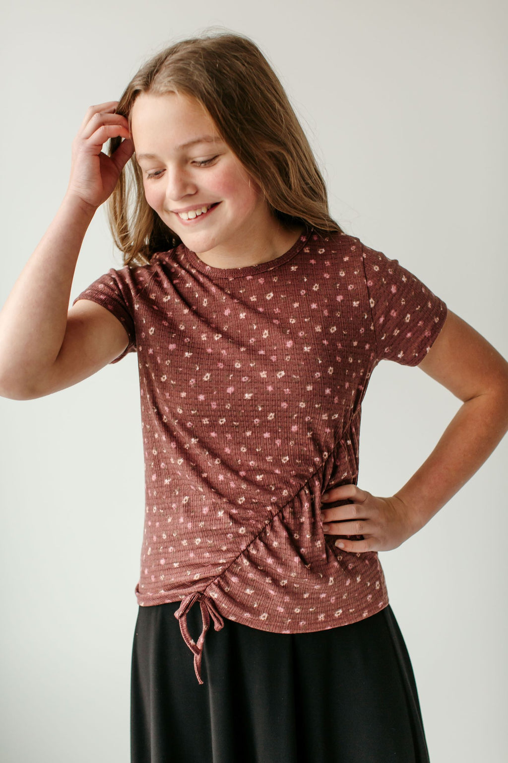 'Marisa' Girl Floral Cinched Top in Muted Burgundy