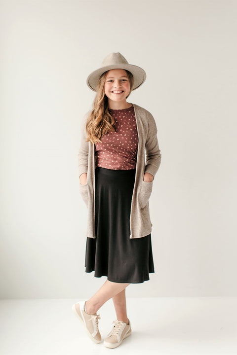 'Poppy' Girl Knit Cardigan in Dark Oatmeal