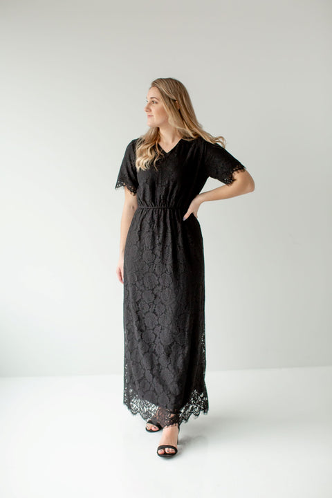 'Odessa' Lace Dress in Black