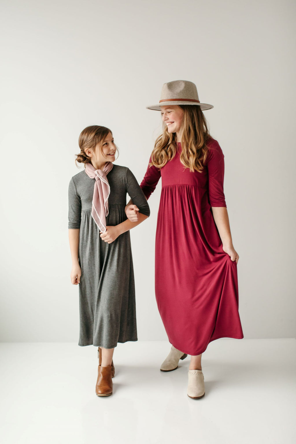 'Addy' Girl 3/4 Sleeve Maxi Dress (3 Colors)