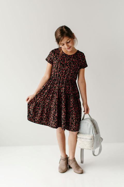 'Lexi' Girl Tiered Dress in Red Floral