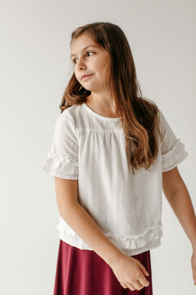 'Annabelle' Girl Ruffle Trim Top in Ivory