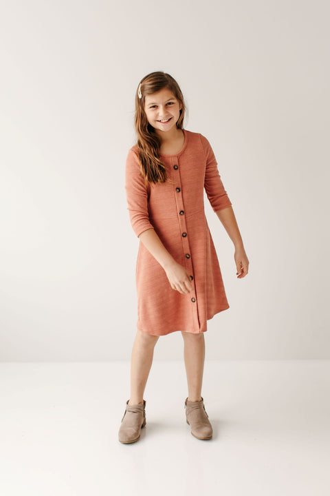 'Rosemary' Girl 3/4 Sleeve Dress in Soft Orange