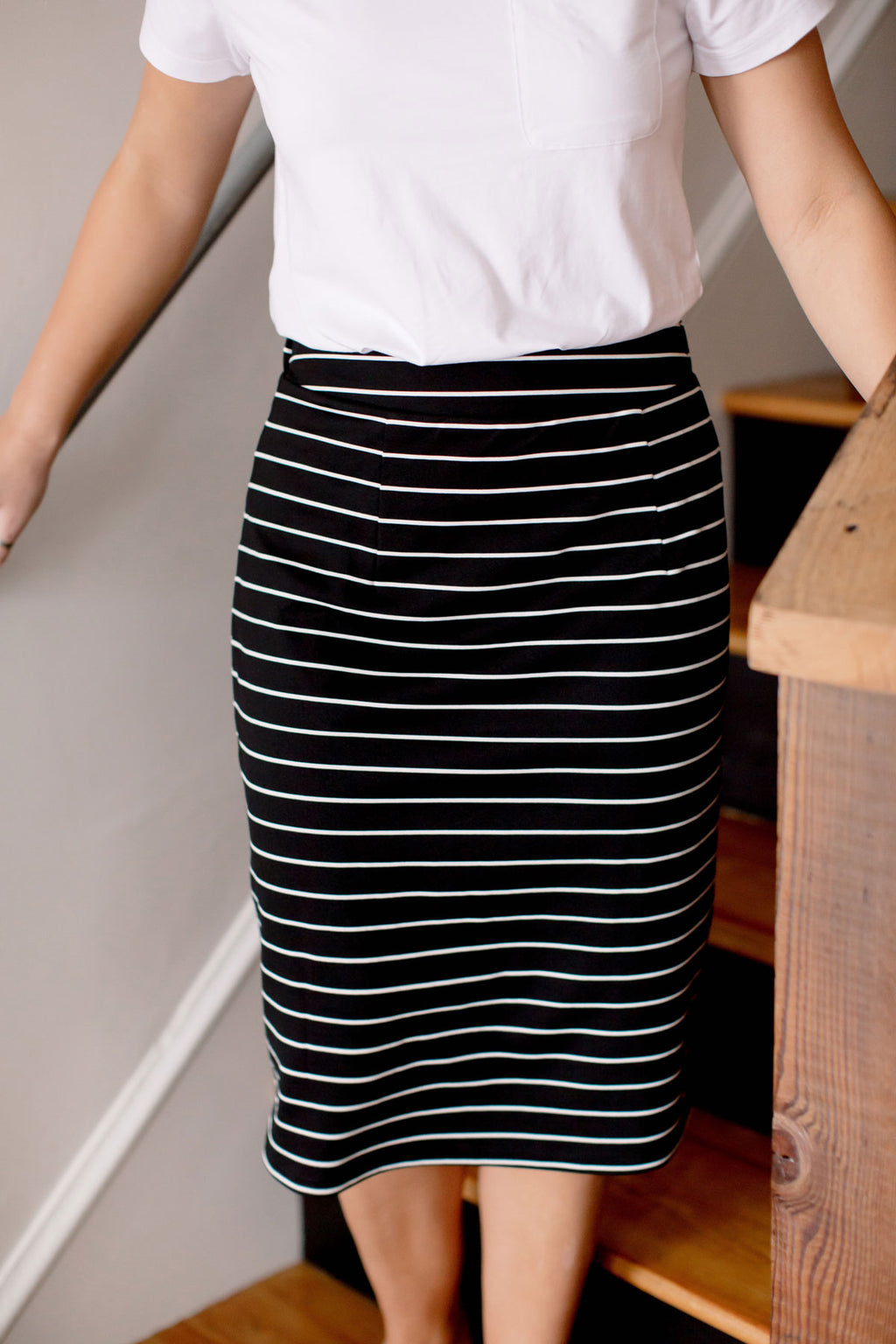 'Anna' Skirt in Black/White Stripes