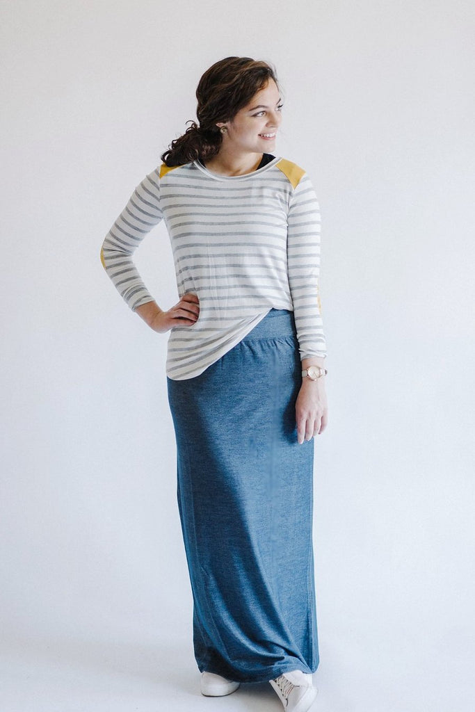 'Layla' Denim Knit Skirt