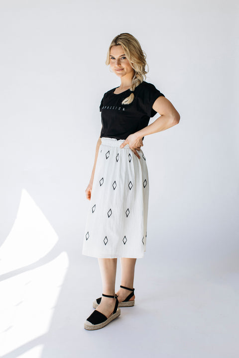 Diamond Embroidered Midi Skirt