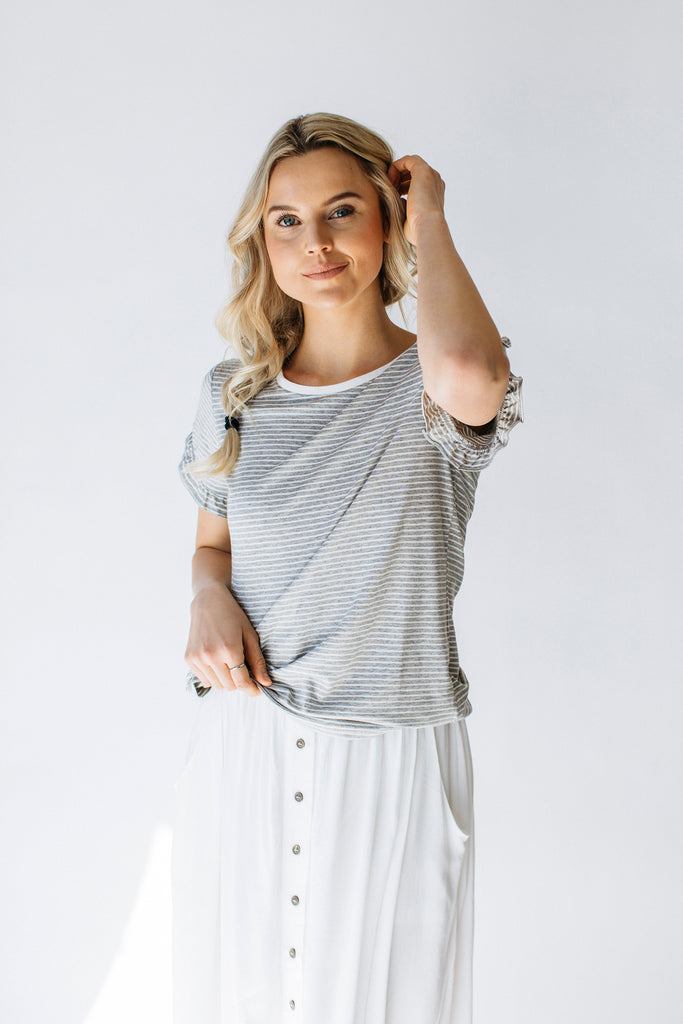 Gray/White Ruffled Sleeve Top