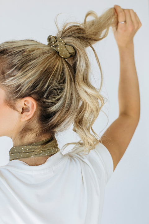 Hair Scrunchie/Neck Scarf in Olive