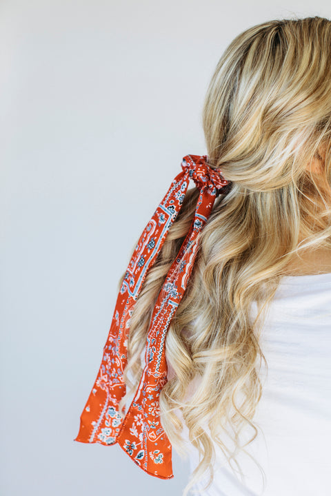 Hair Scrunchie/ Neck Scarf in Red