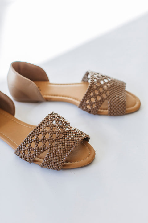 Ballet Flat Sandals in Taupe