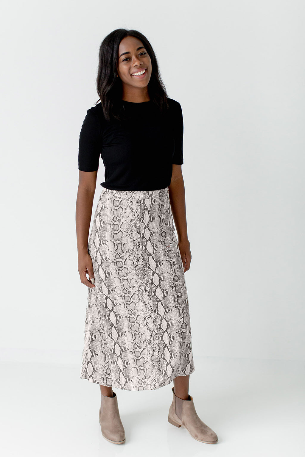 'Oakley' Snake Print Skirt in Taupe