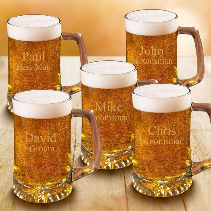 5 Beer Steins Groomsmen Gift Set