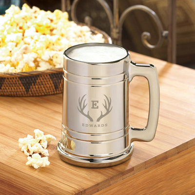 Groomsmen Gift Set of 5 Personalized Gunmetal Beer Mugs- 16 oz.