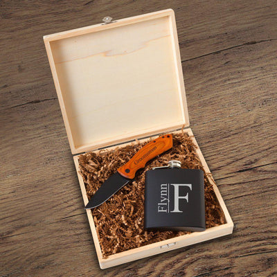 BroBox #5 Personalized Groomsmen Flask & Knife Gift Box