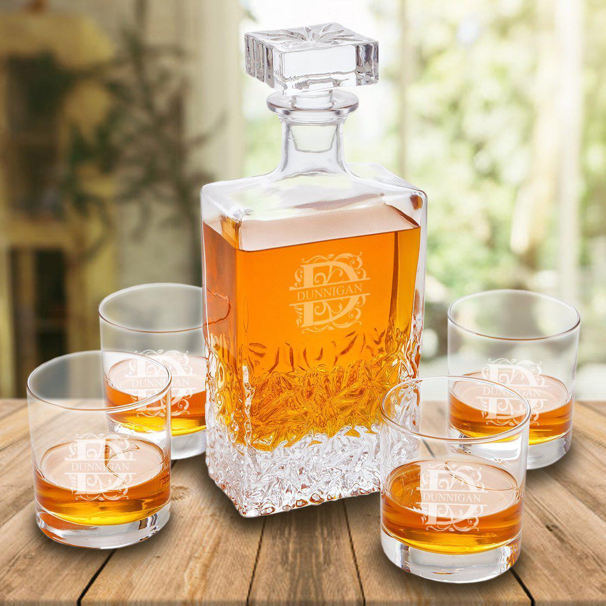 Personalized Whiskey Decanter Gift Set w/ 4 Lowball Glasses