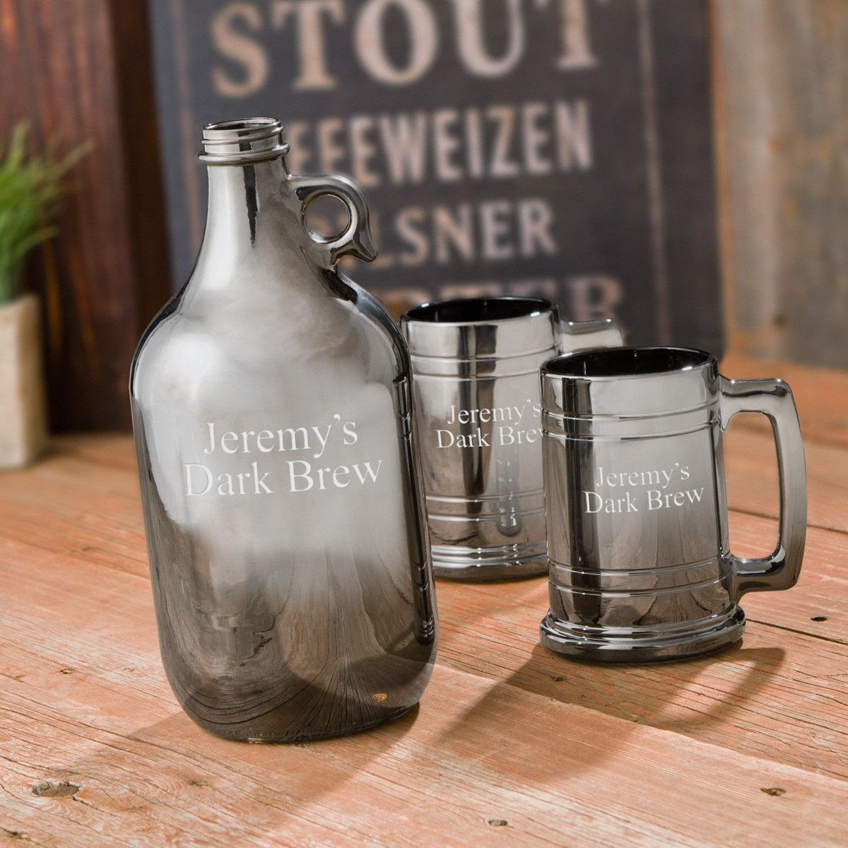 Personalized Gunmetal Growler and Beer Mug Set