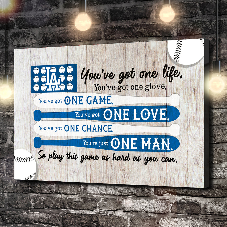 LA DODGERS ONE LOVE ONE MAN CANVAS
