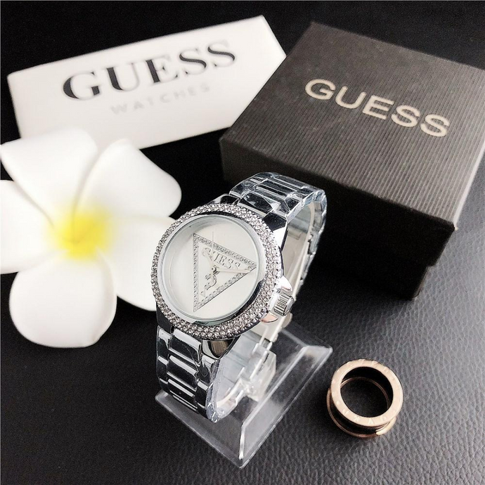 Silver Crystal Guess Steel Watch
