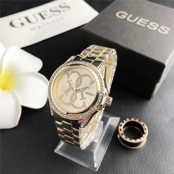 Gold Classic Guess Steel Watch