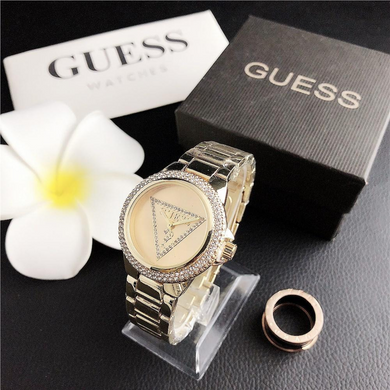 Gold Crystal Guess Steel Watch